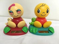 2002 Tomy NoHoHon Solar Bobble Heads Red w/ Green Baby Pink